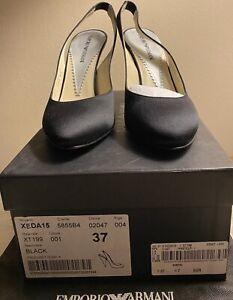 Emporio Armani XEDA 15 Heels Women's Size Made In Italy Black Slingback Shoe New