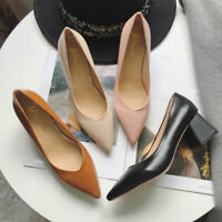 Women's Pointed Toe Block High Heels Shoes PU Leather Pumps Shallow Mouth Shoes