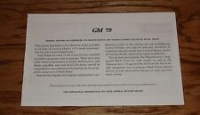 1975 Chevrolet GM Car Specifications & Suggested Retail Price Brochure 75 Chevy