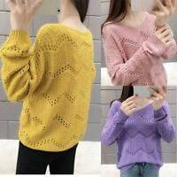 Women Knitting V-Neck Pullover Tops Long Sleeve Hollow Out Bottoming Sweater