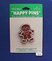 Hallmark PIN Christmas Vintage GINGERBREAD MAN COOKIE Boy Holiday Brooch NEW