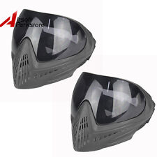 2pcs Tactical Paintball Airsoft Anti-Fog Safety Goggles Full Face Mask Black