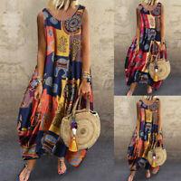 US Women Vintage Bohemian Floral Sleeveless O-Neck Straps Tank Maxi Dress New