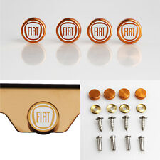 Laser Etched 4 Rose Gold Aluminum Fiat License Plate Frame Fastener Screws Cap