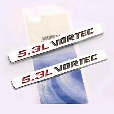 2x OEM 5.3L VORTEC Emblems  HOOD Engine Badge 3D Silverado GM Sierra Chrome 2L