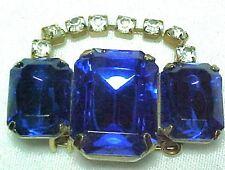Beautiful Large Calbolt Blue & Clear Rhinestones Pin / Brooch