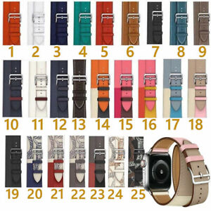 New Double Tour Bracelet Real Leather Band Strap For Apple Watch Series 6 5 4 3