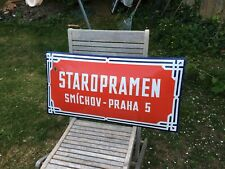 ORIGINAL ENAMEL STREET ROAD SIGN STAROPRAMEN SMICHOV PRAHA 5 PRAGUE CZECH