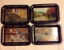 Set Of 4 Vintage OHIO ART Small Metal Tin Trays -Bryan O Museum Of Smith Clove