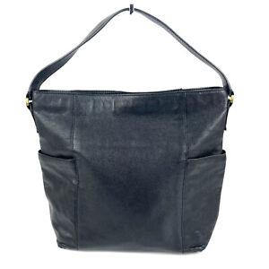 Fossil Hobo Handbag Black Soft Pebbled Leather Shoulder Bag Purse Side Pockets