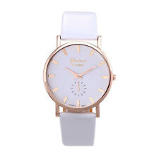 White Women Fashion Geneva Roman Leather Band Analog Quartz Wrist Watch Gift