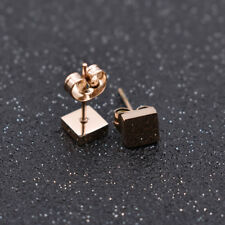 Simple Smooth Square Rose Gold Ear Stud Surgical Stainless Steel Earrings Gift