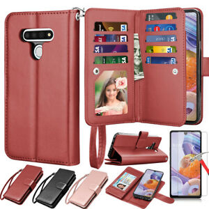 For LG Stylo 6 Card Leather Flip Wallet Stand Case Cover /Glass Screen Protector