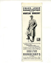 Publicité des années 50 sur les manteau BURBERRY / Habits / 12x33cm / FN40