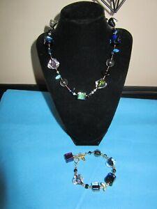 "Marco Polo Designs Art Glass Bead 16"" - 19"" SUPER NOVA Necklace & Bracelet Set"