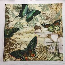 Jean Plout Vtg Butterfly Kisses Pillow Cover Tapestry Aqua Brown & Dream 17x17