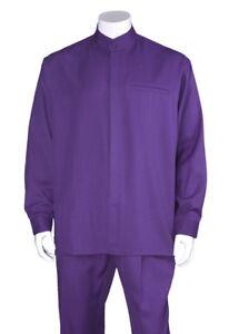 Men's 2pc Walking Suit Long Sleeve Casual Shirt & Pants Set 2826 Size M-6XL