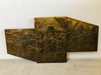 🔥 Antique Cubist Cubism Mid Century Metal Copper Icon Sculpture - Last Supper