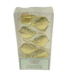 Set of 12 Deluxe Metal Shower Hooks Gold Leaves ~ New in Box