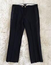 JCREW cropped wool pant with satin tux stripe F8877 Black 6 $138