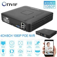 4CH/8CH Security CCTV HD 1080P ONVIF NVR VGA IP Camera Network Video Recorder