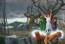 "Horror! Fred Gambino original art book cover ""Hounds of the Morrigan"" Penguin 88"