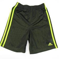 Adidas Athletic Basketball Shorts Boys Youth 6 Black & Neon Green 6T Mesh Kids