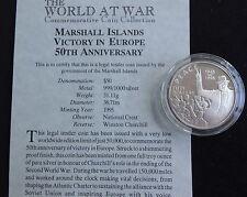 1995 1 OZ (ca. 28.35 g) ARGENTO PROVA Marshall l'Isis $50 MONETA + COA WORLD AT WAR Churchill