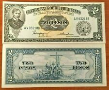 PHILIPPINES 2 PESOS P-134 B 1949 UNC RIZAL BOAT CROSS BANK NOTE MONEY CURRENCY