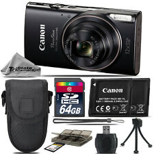 Canon PowerShot ELPH 360 Digital Camera (Black) 1075C001 8X Zoom  -64GB Kit