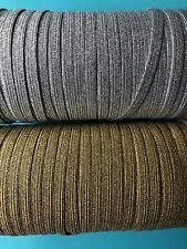 1/4 inch metallic gold or silver elastic by the yard, 6mm width, Flat, 3,5,10 Yd