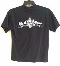 City Of  LOS ANGELES LOGO Black TSHIRT Medium Work Shirt 2 sided print graphics
