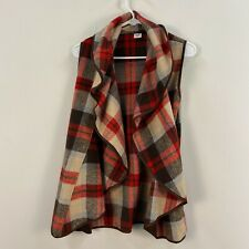 Womens Small Vest Top Black Red Hunt Equestrian Plaid Check Sleeveless AA29