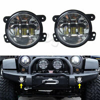 2x 4'' 30W Cree Led Round Fog Lights Driving Lamp for Jeep Wrangler JK 07-14