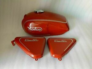 NORTON COMMANDO ROADSTER 850 LOGO RED PAINTED PETROL TANK WITH SIDE PANEL