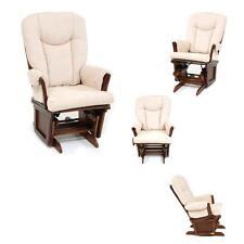 Poltrona sedia a dondolo relax in legno massello noce imbottita cuscino ecru