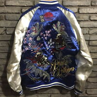 Mens REVERSIBLE Sukajan Souvenir Jacket Zip Up Pattern Embroidered Tattoo Myth