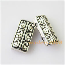 10Pcs Antiqued Silver Tone 2-2Holes Spacer Beads Bars Charms Connectors 7.5x14mm