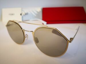 NEW FENDI EYELINE FF M0021S J5G/K1 Sunglasses, Gold / Gold Mirror, 54-22-145mm