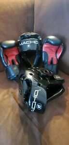 Set of Two Macho Sparring Headgear XL With Red n Black WE Sparring Gloves 10-OZ