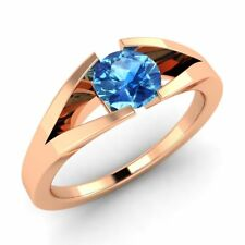 Certified 18k Rose Gold 0.49ctw FINE Natural Blue Topaz Solitaire Ring