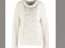 BNWT MICHAEL KORS RUNWAY Cream Woollen jewelled chunky knitted Jumper size L