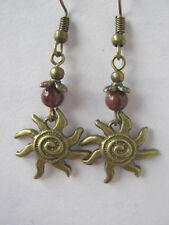 Spiral Sun Bronze Earrings Garnet Gemstone Beads Solstice Pagan