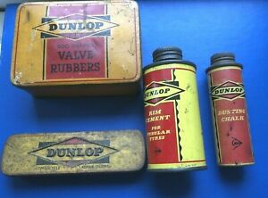 4 VINTAGE DUNLOP PUNCTURE OUTFIT TINS-ALL METAL