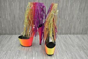 Pleaser Rainbow 1017RSF-7 Platform Heels - Women's Size 5, Multicolor NEW