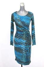womens blue brown abstract print CALVIN KLEIN knotted sheath dress modern XS 2