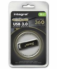 Integral 8GB Secure 360 Encrypted USB 3.0 Drive with 256 bit AES Secure Lock II.