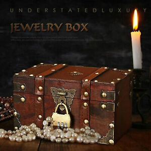 Retro Treasure Chest Vintage Wooden Storage Box Antique Style Jewelry Organizer