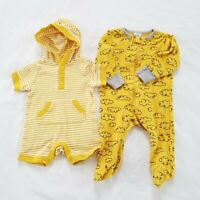 Gender Neutral Baby Clothes Rompers 0-3 Months Sleeper Unisex Boys Girl Yellow