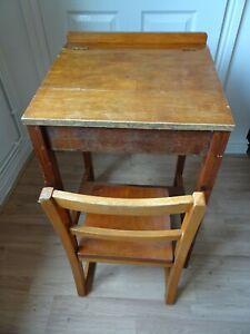 Vintage Wooden Childs Desk & Chair Lift up Lid Cubby Shelves Pen Holder HandMade
